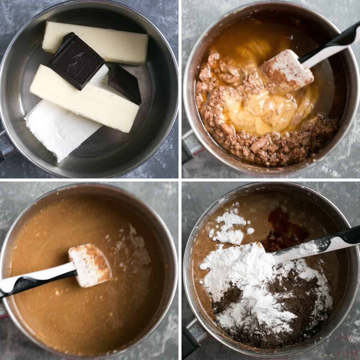 dark chocolate keto fudge ingredients in pot