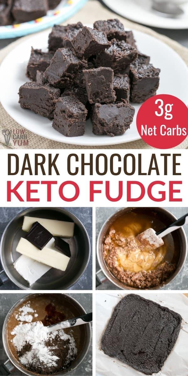 dark chocolate keto fudge pinterest image