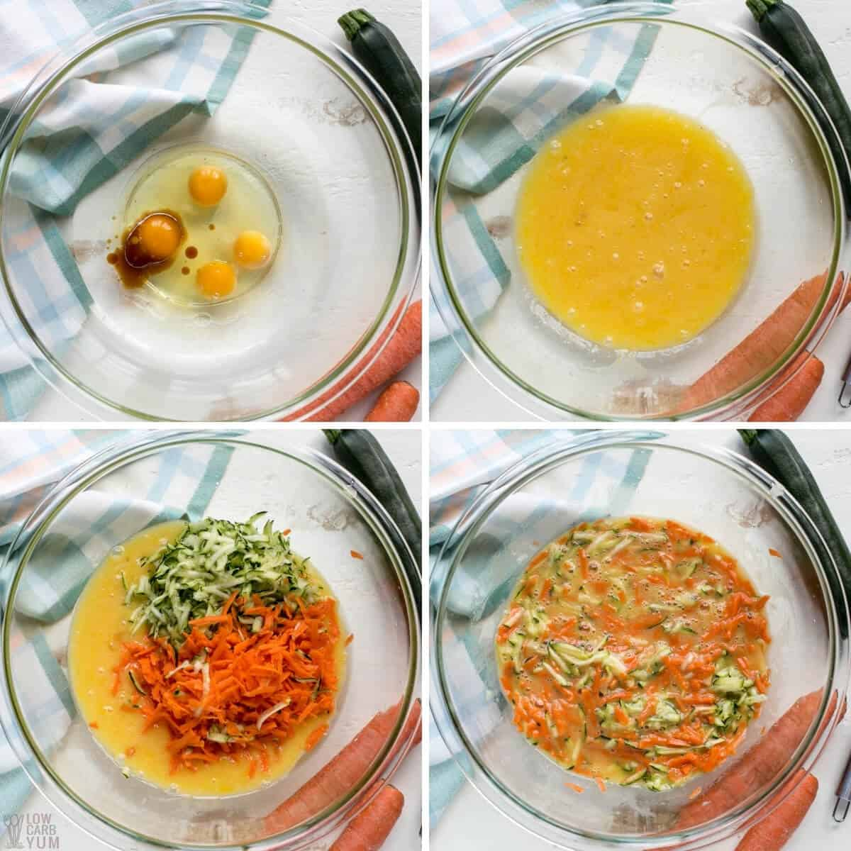 carrot and zucchini egg mixture for batter