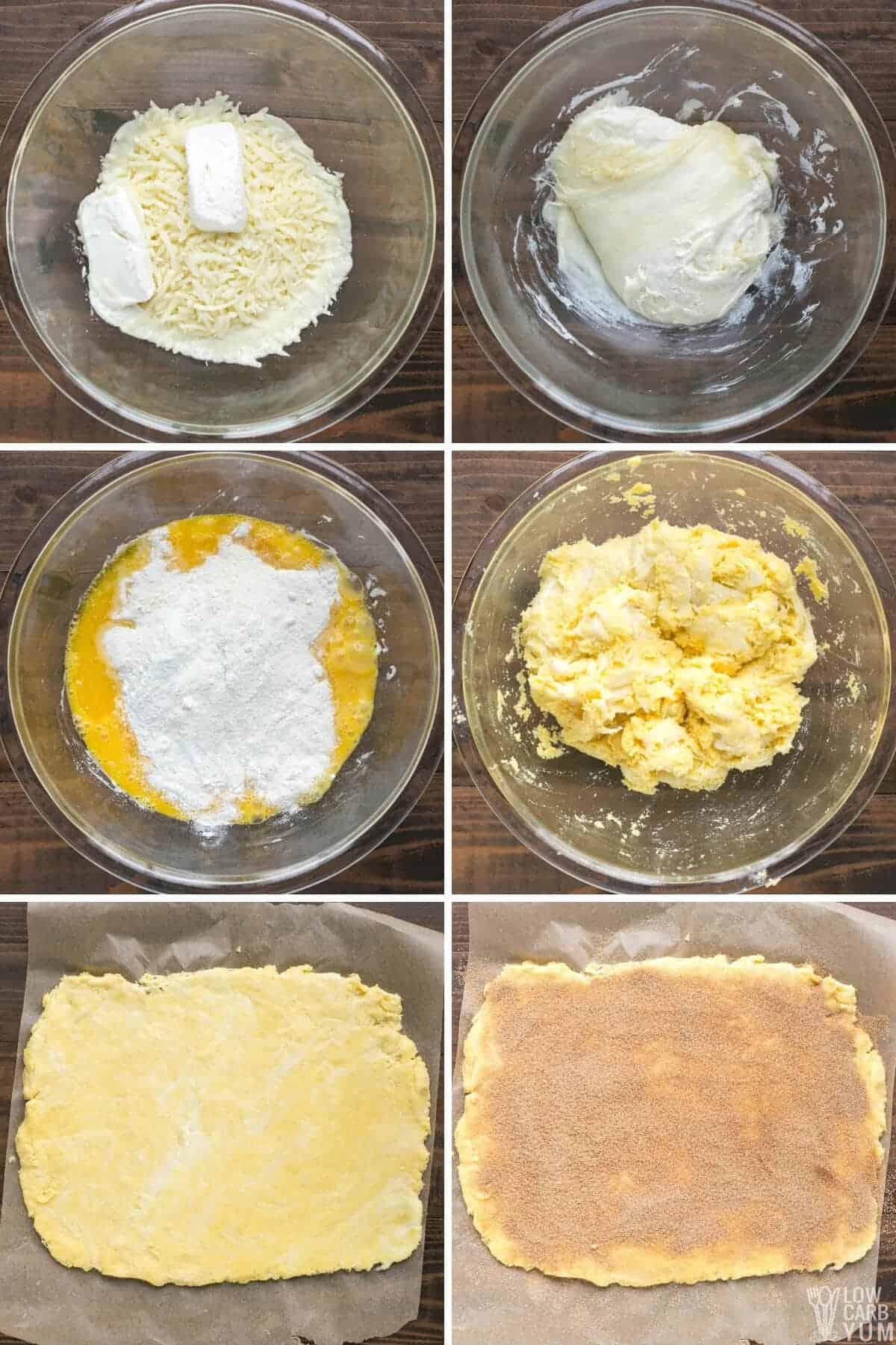steps showing how to make the fathead cinnamon roll dough
