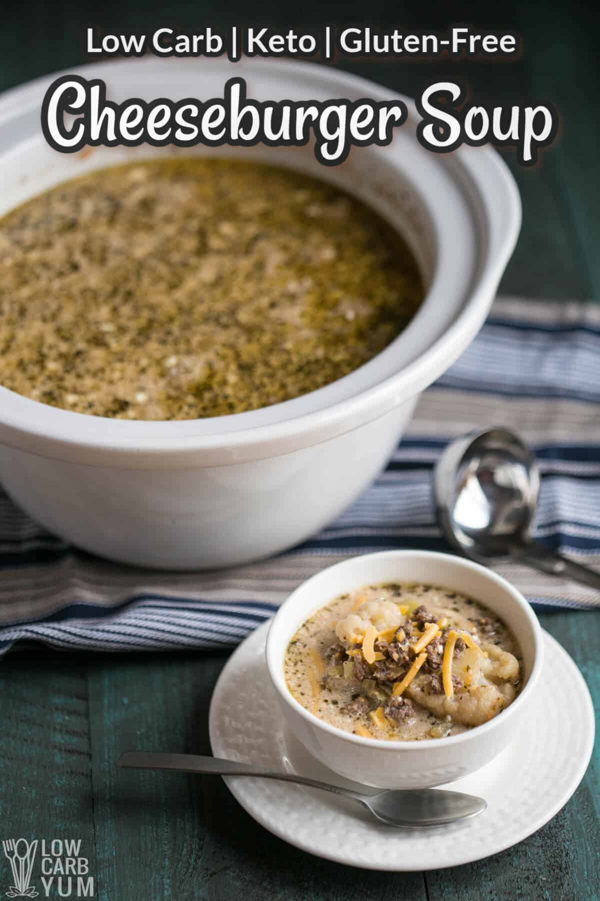 keto crockpot cheeseburger soup cover image