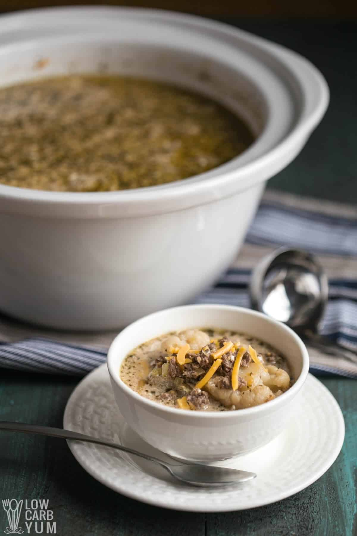 tall image of keto crockpot cheeseburger soup