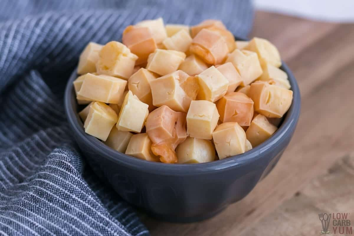 keto popcorn in gray bowl
