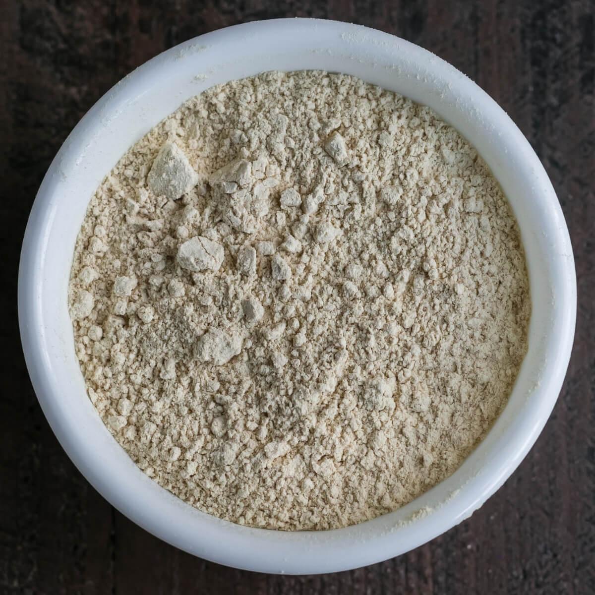 oat fiber in white bowl