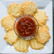 parmesan cheese crisps on plate