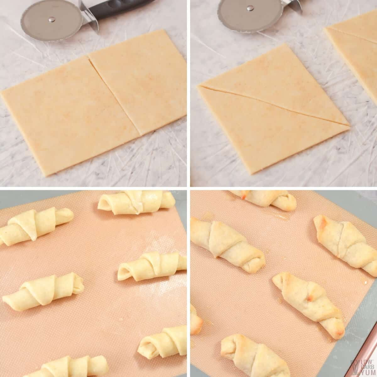 preparing and baking the croissants