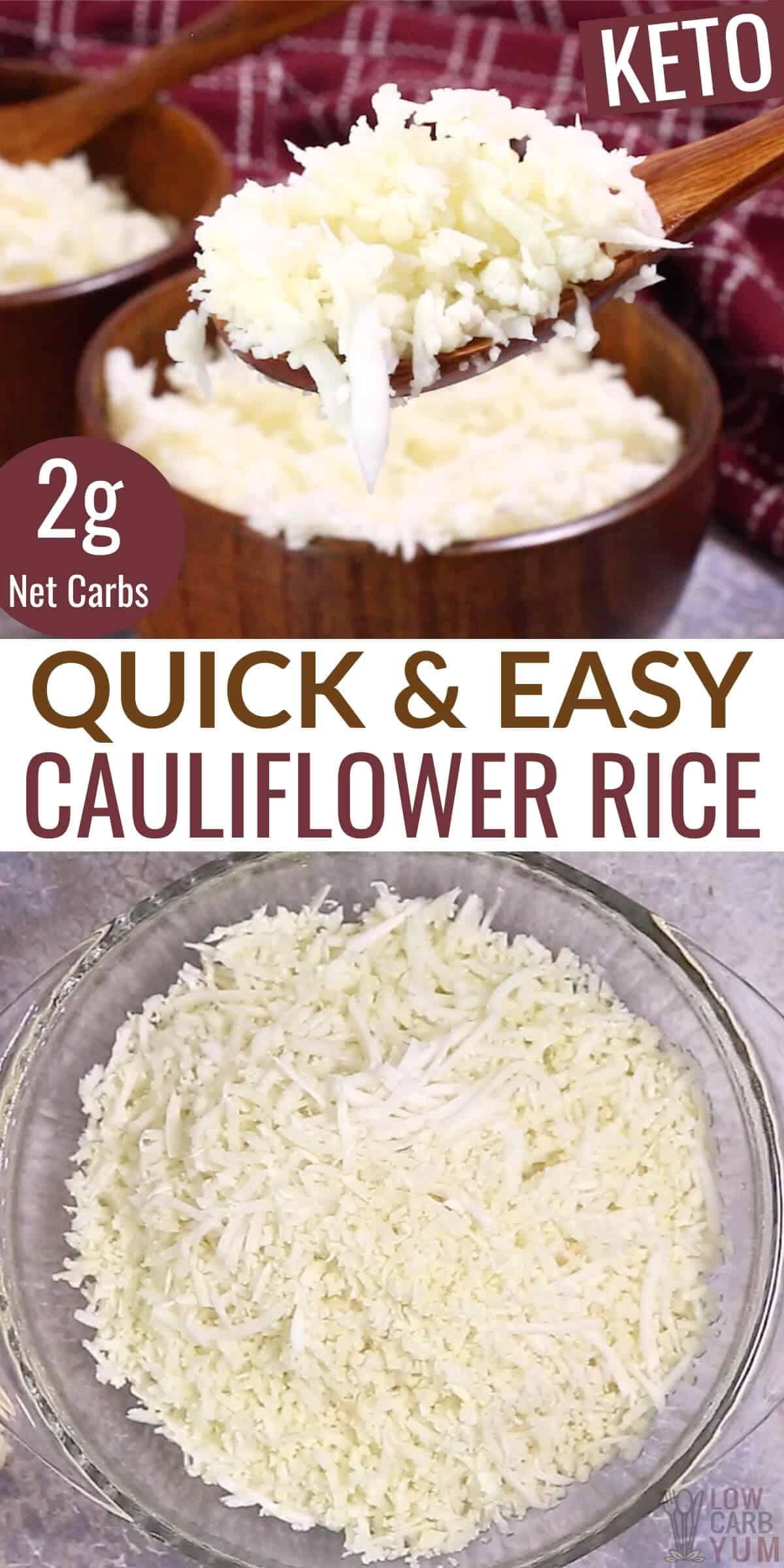 quick and easy cauliflower rice pinterest image