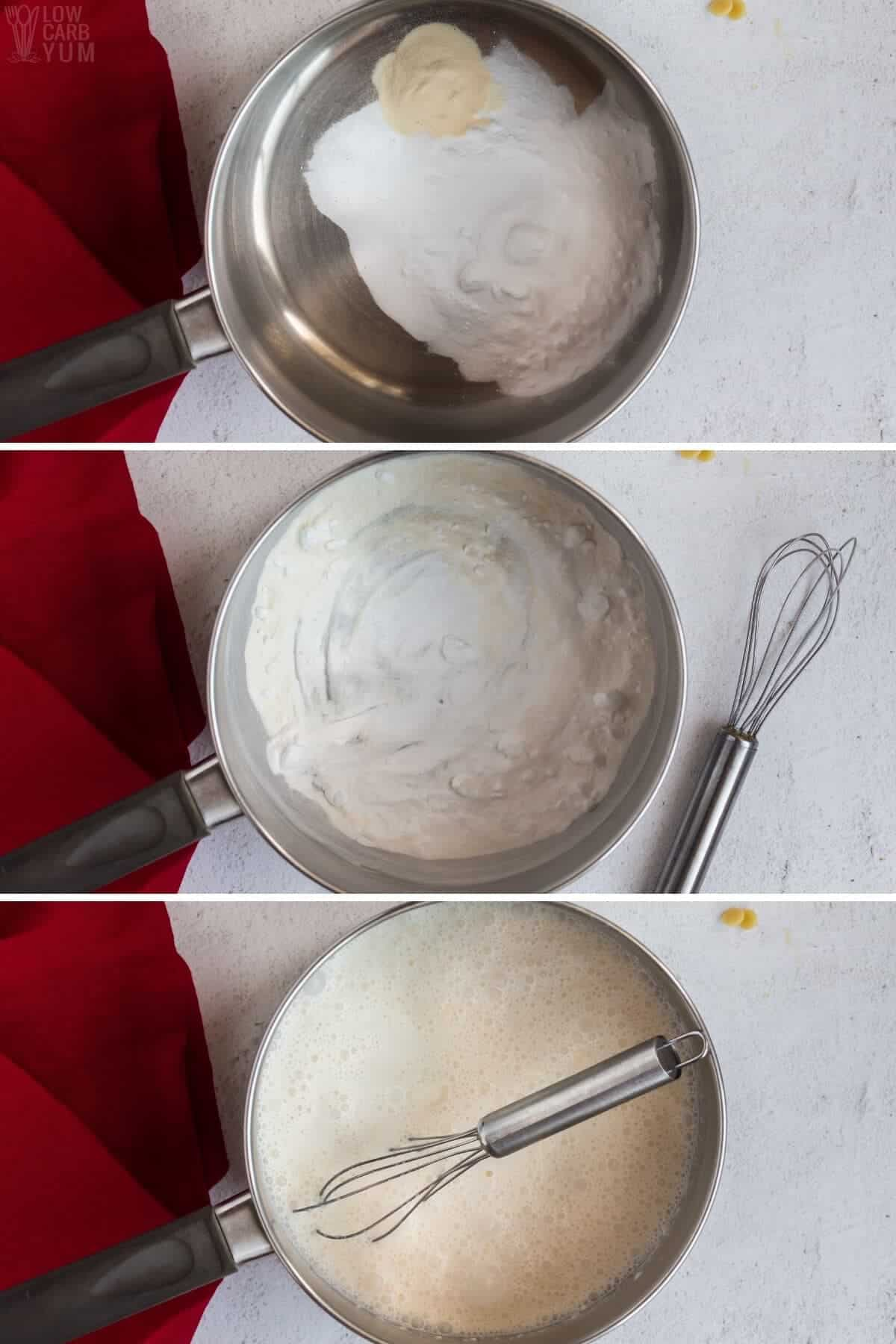 initial white chocolate pudding steps