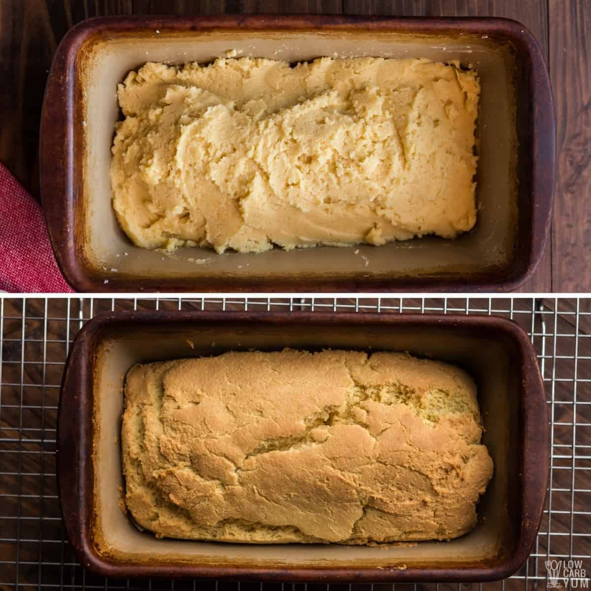 baking the quick keto bread batter in stoneware pan