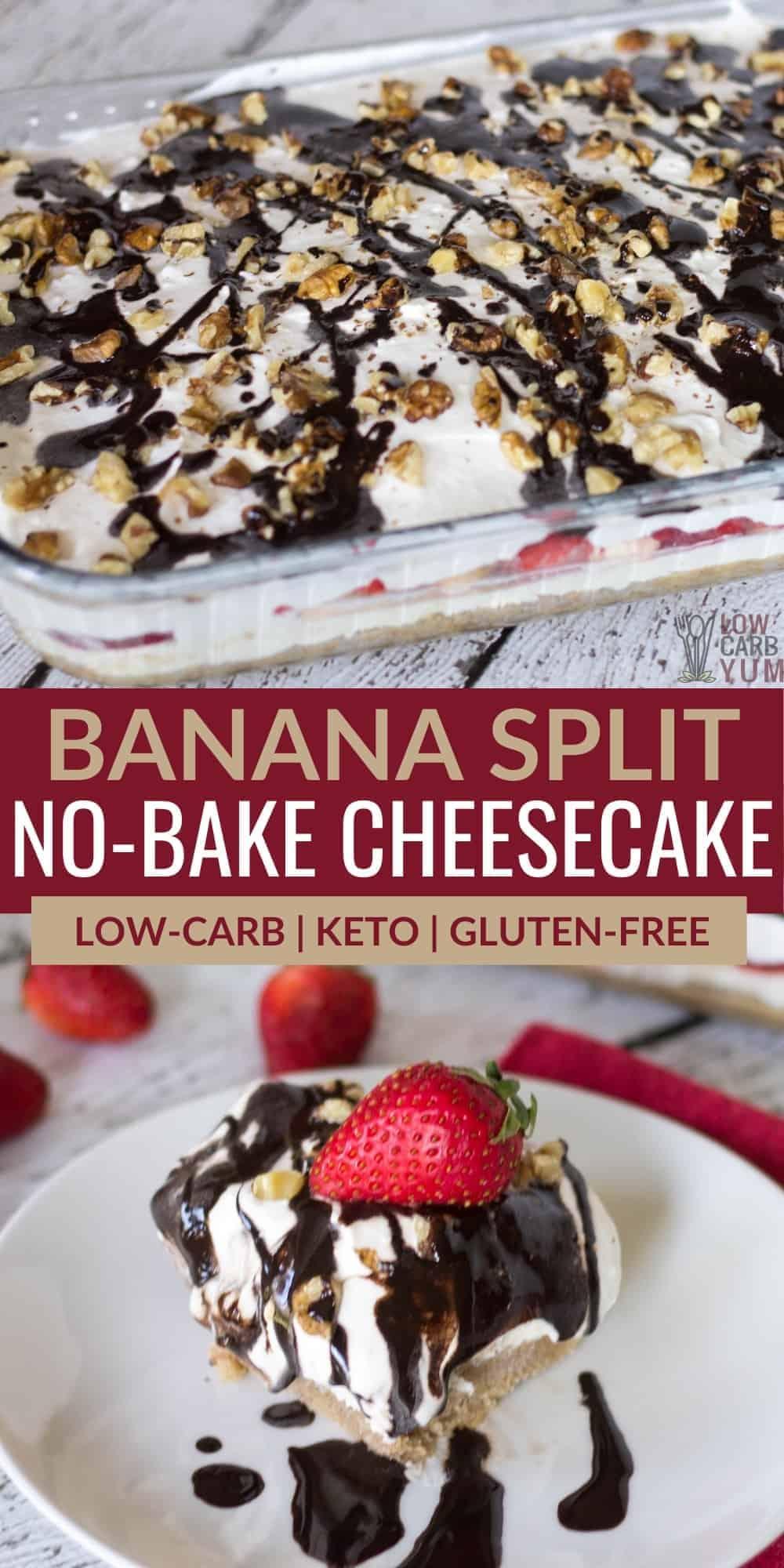 keto banana split no bake cheesecake pinterest image