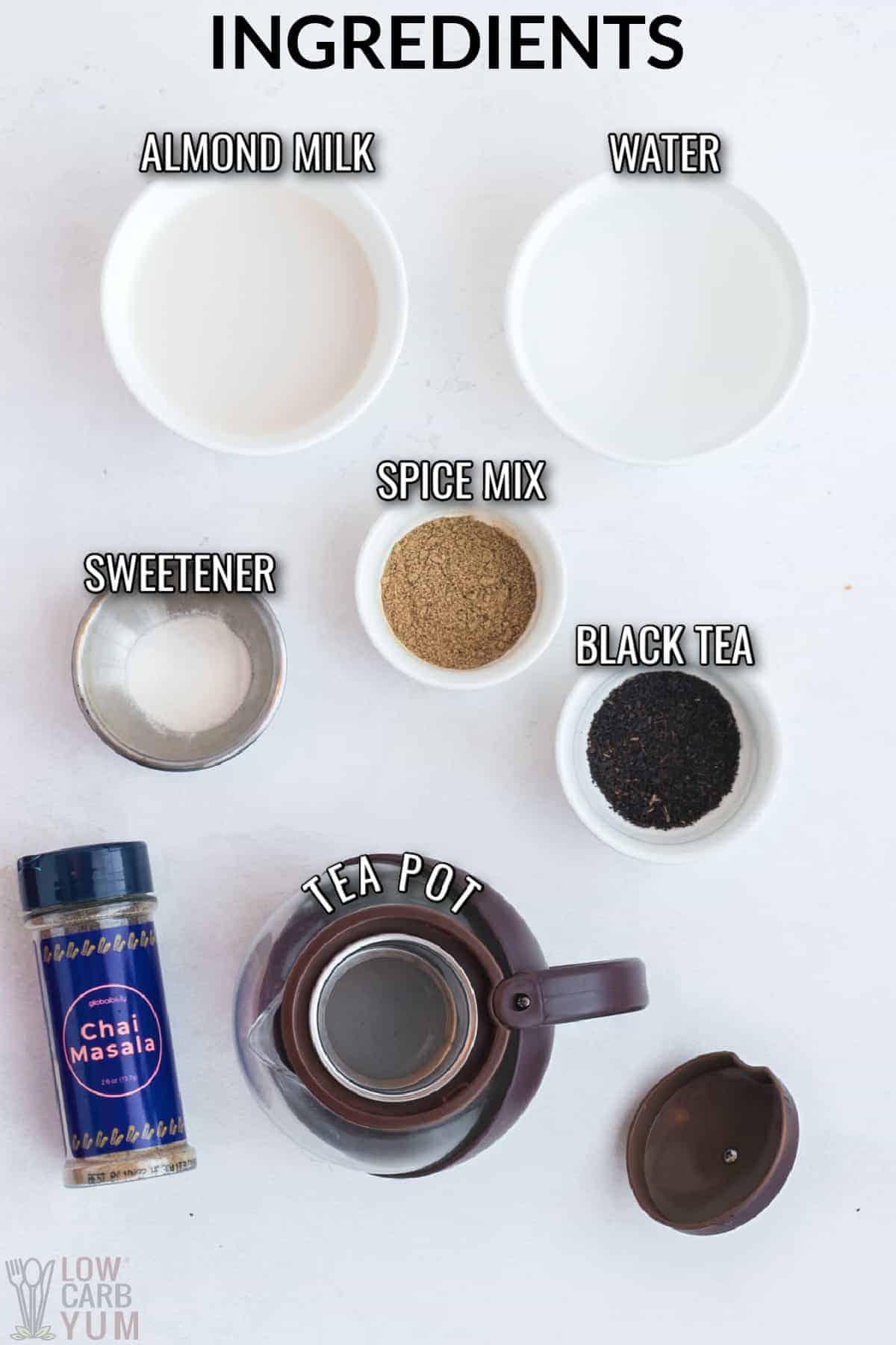 ingredients to make the chai tea recipe