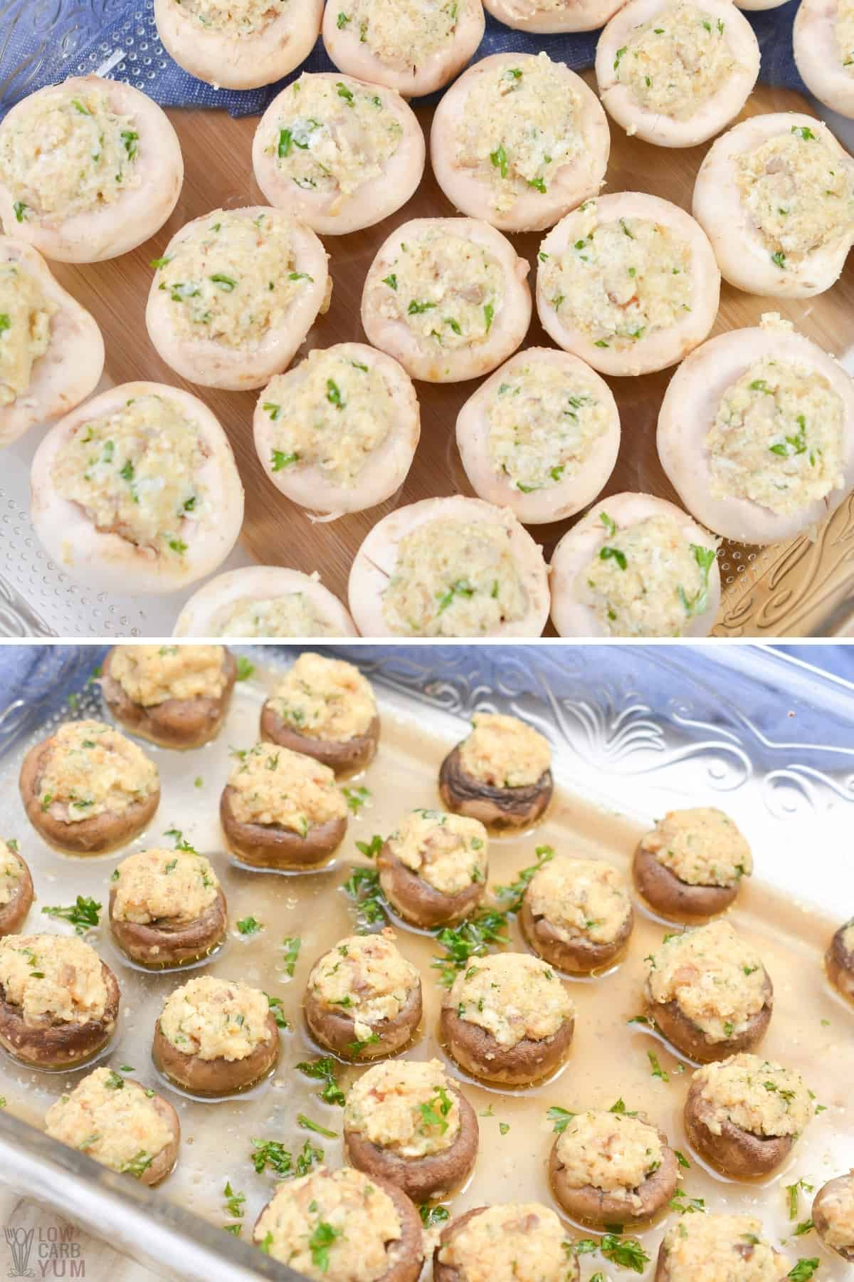 stuffed mushrooms before and after baking