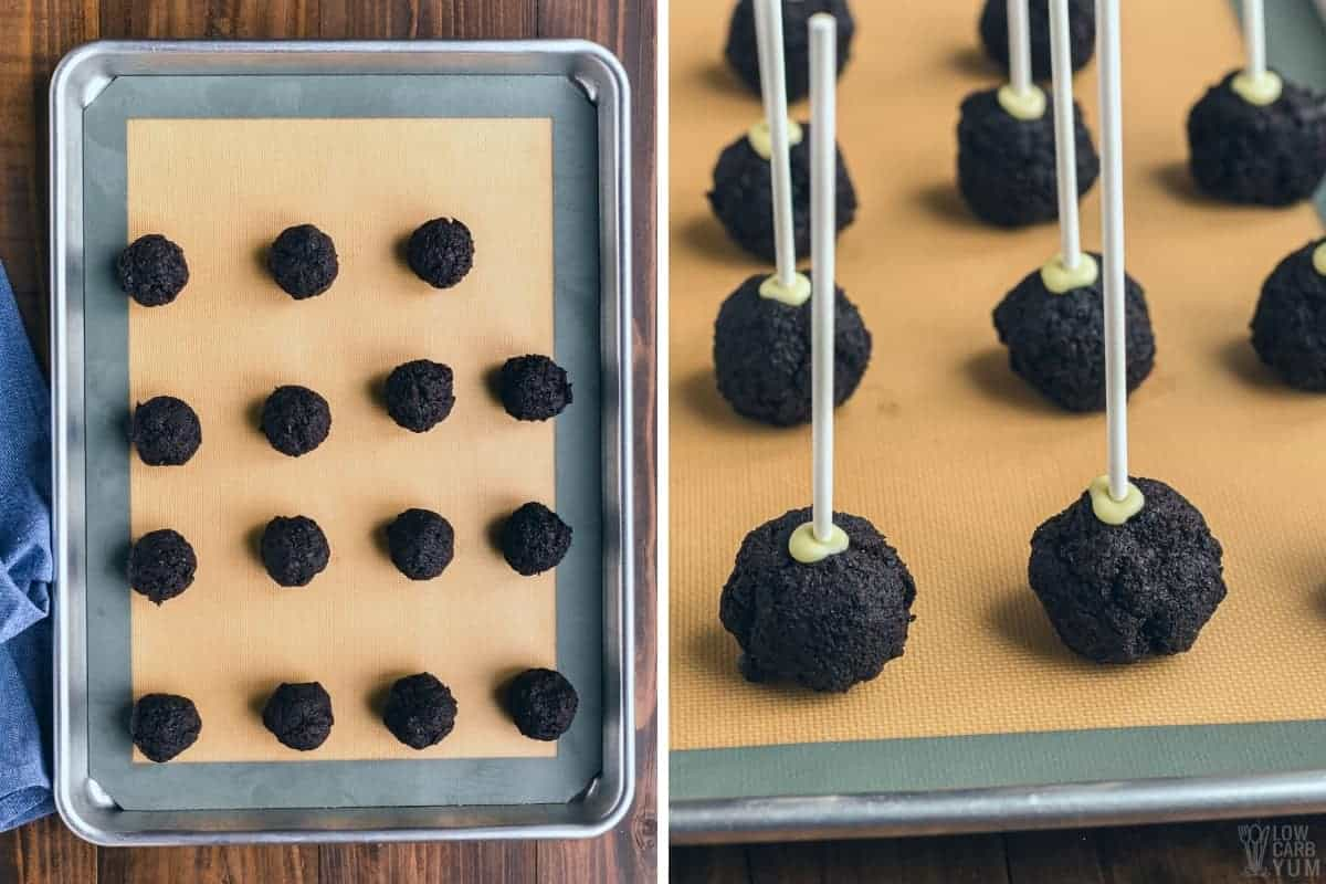 making the cake balls on lined baking sheet
