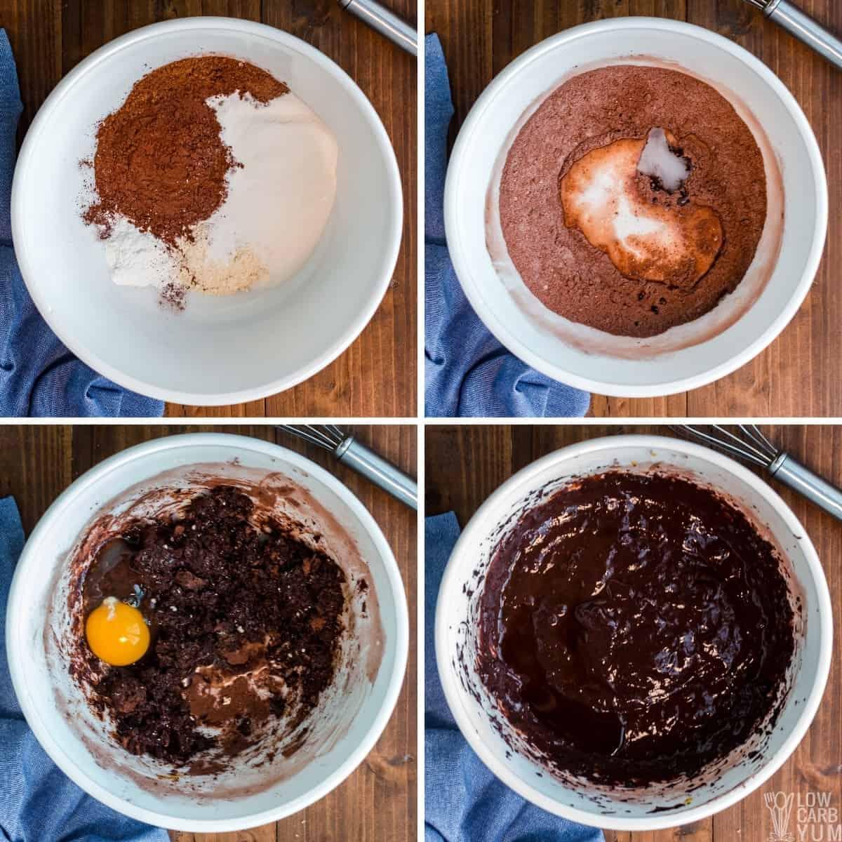 making the keto chocolate cake batter