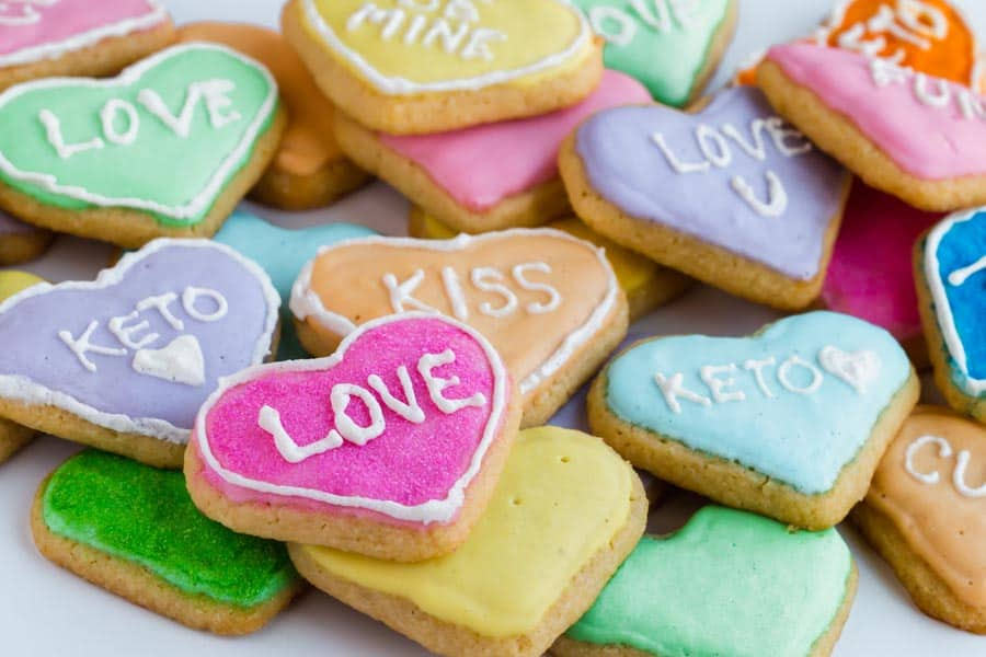 Keto Sugar Cookies in the shape of a heart