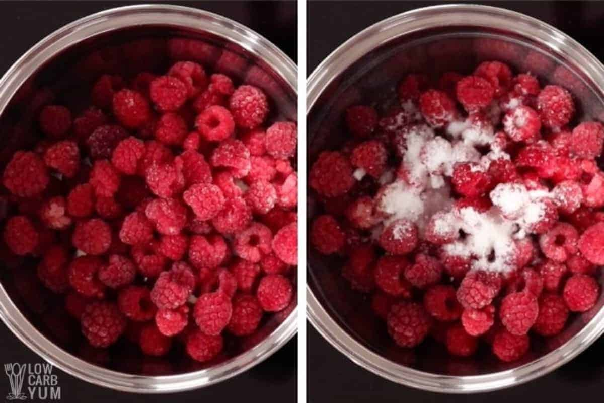 raspberries in pot for jam with sweetener
