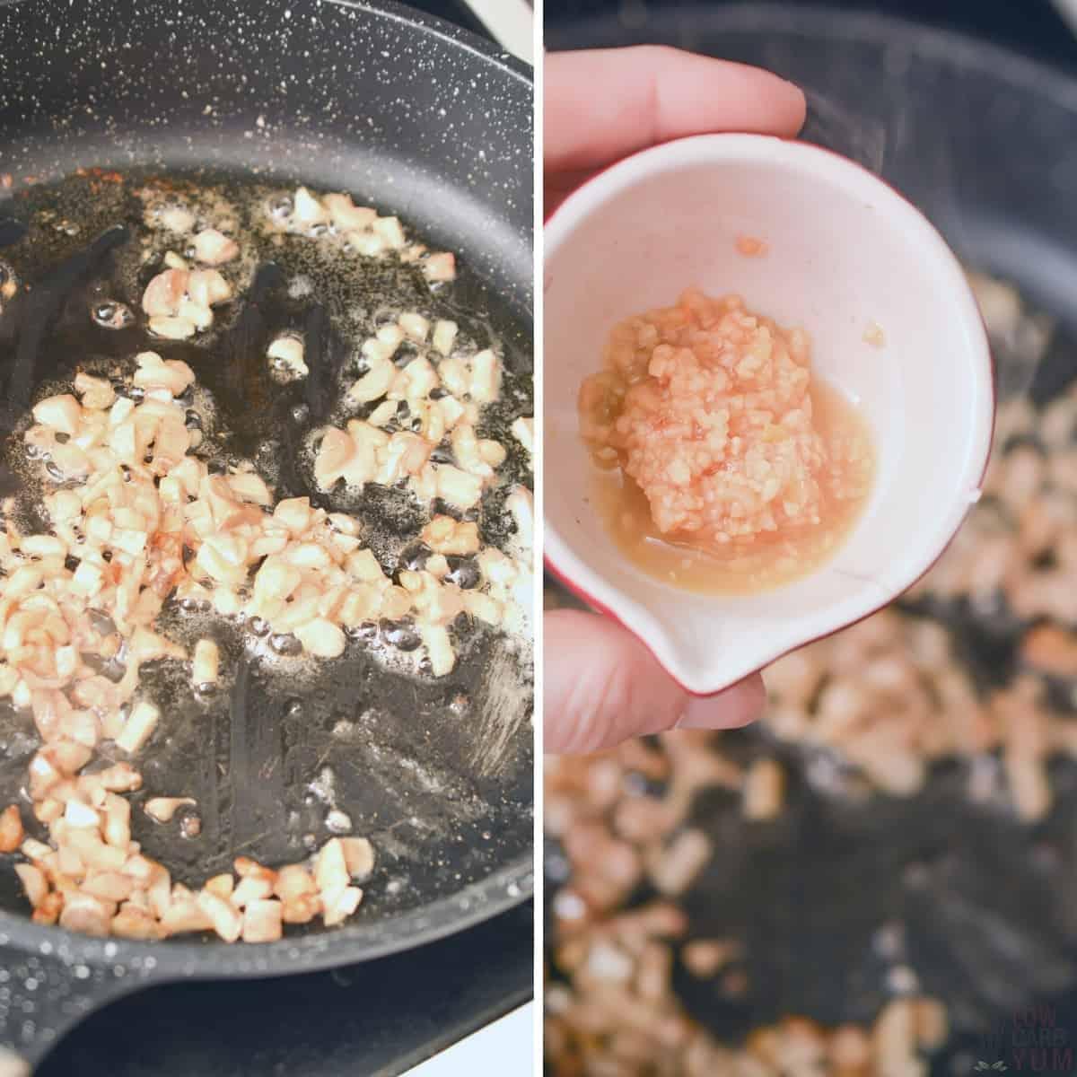 cooking chopped mushroom stems in pan