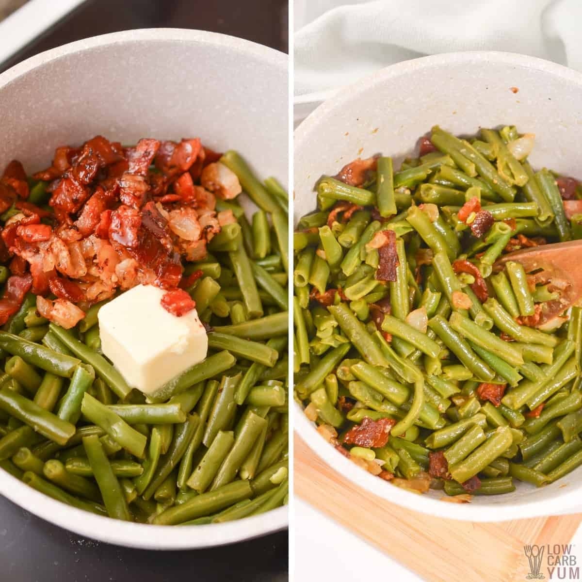 adding in bacon and butter to green beans