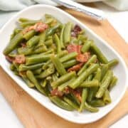 southern style green beans in serving dish