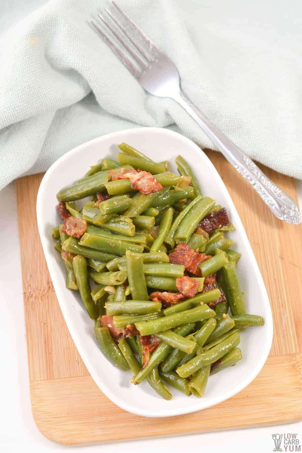 tall image of southern style green bean in serving dish