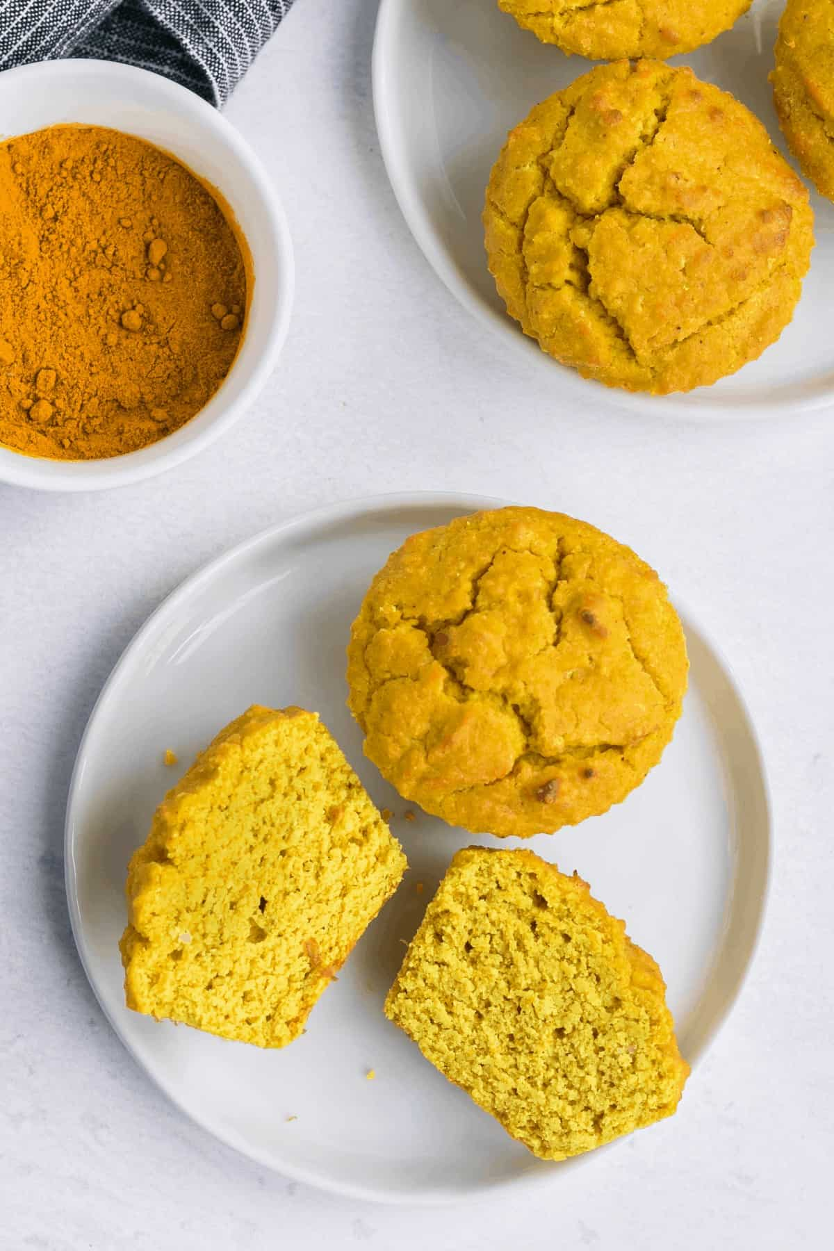 texture inside of turmeric coconut flour muffins