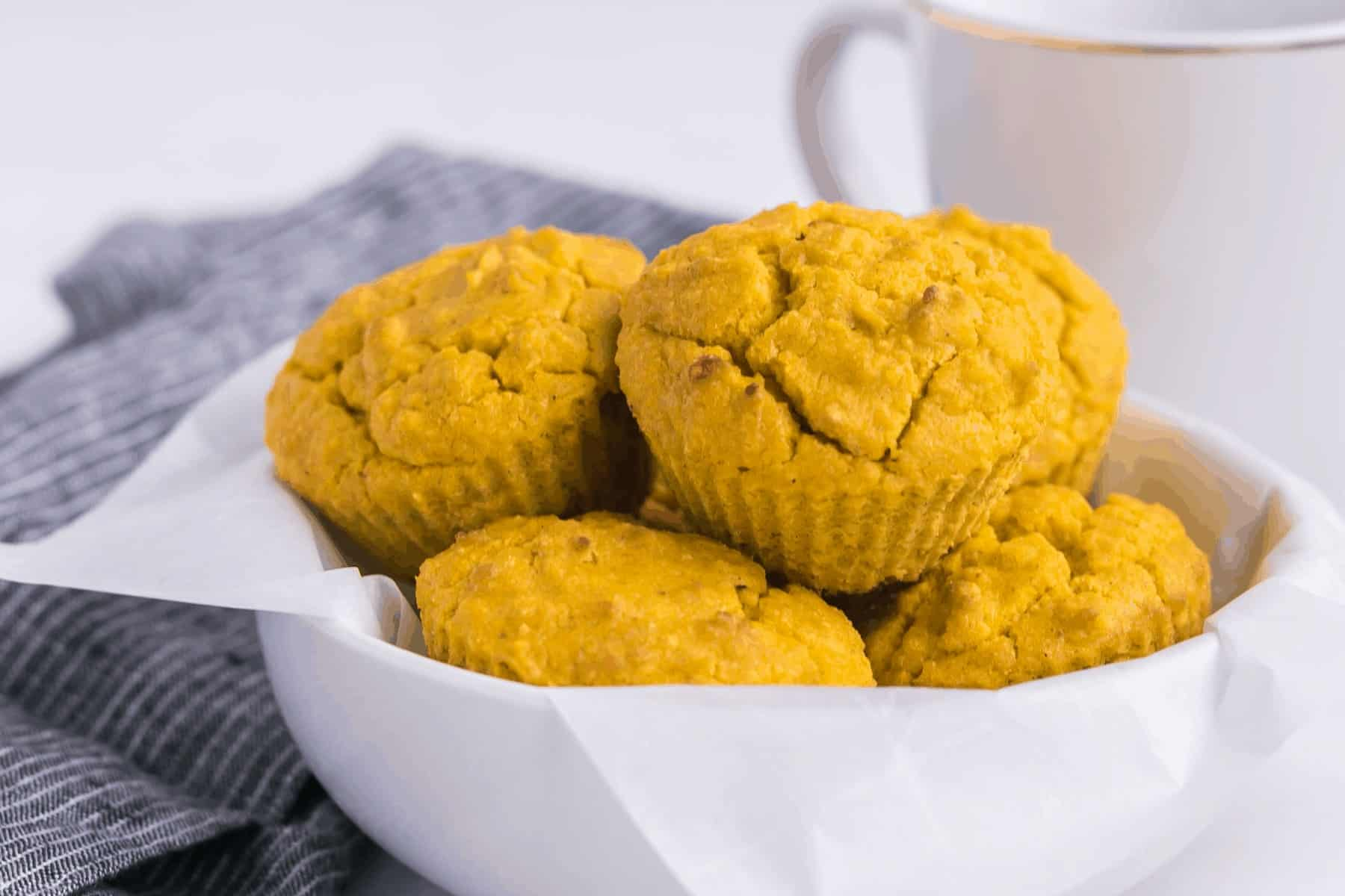 turmeric coconut flour muffins in a bowl