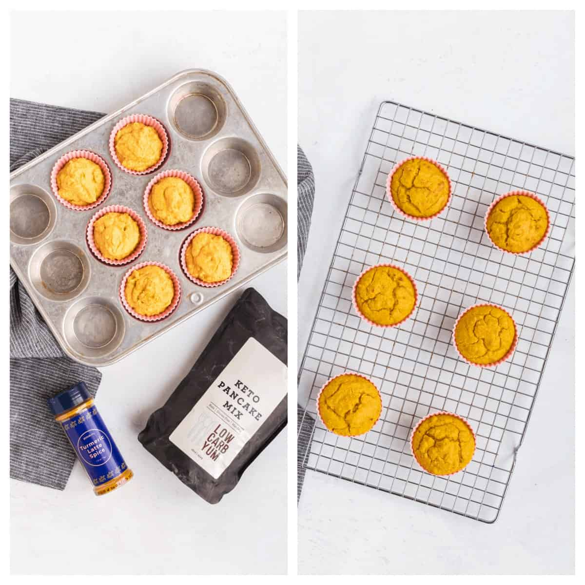 muffin batter and baked turmeric muffins in pan