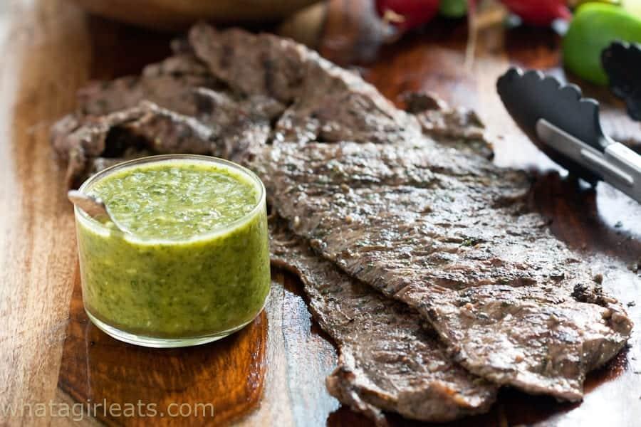 steak with cilantro garlic sauce