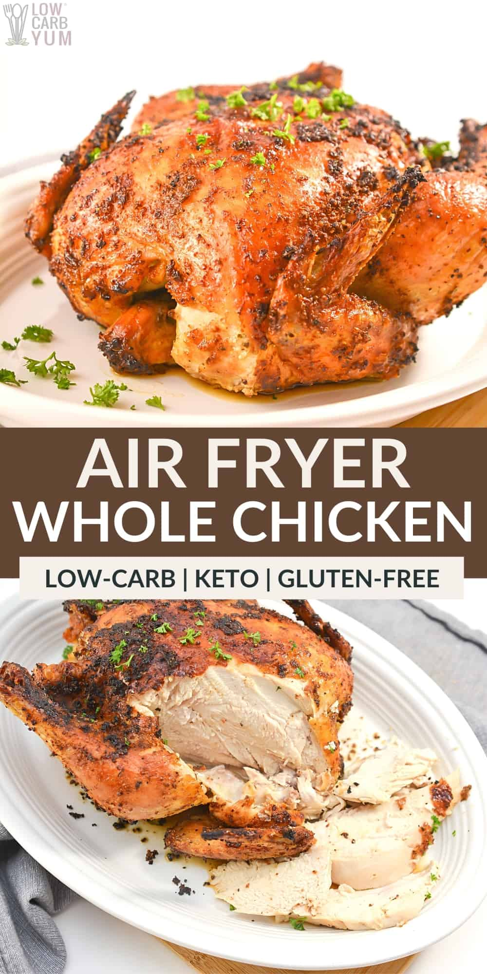 air fryer whole chicken pinterest image