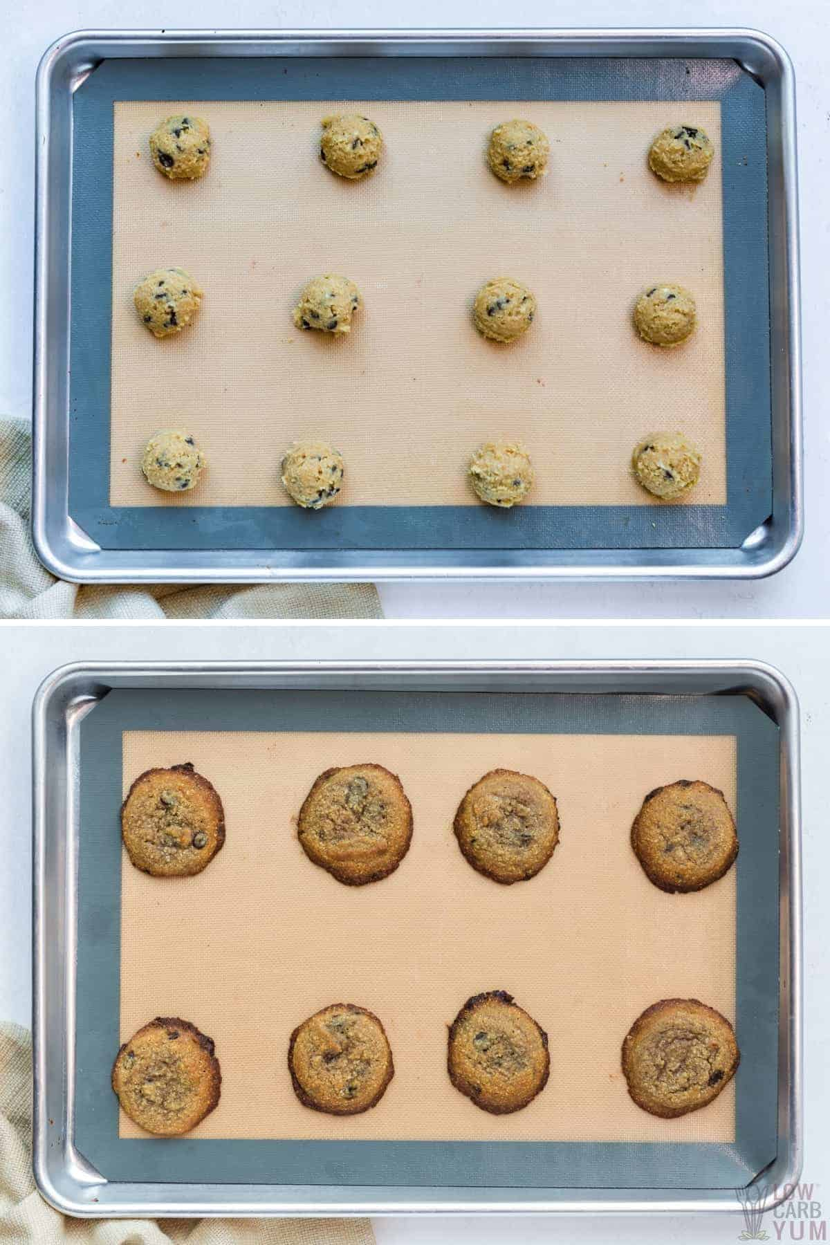 baking the cookie dough scoops on lined sheet pan