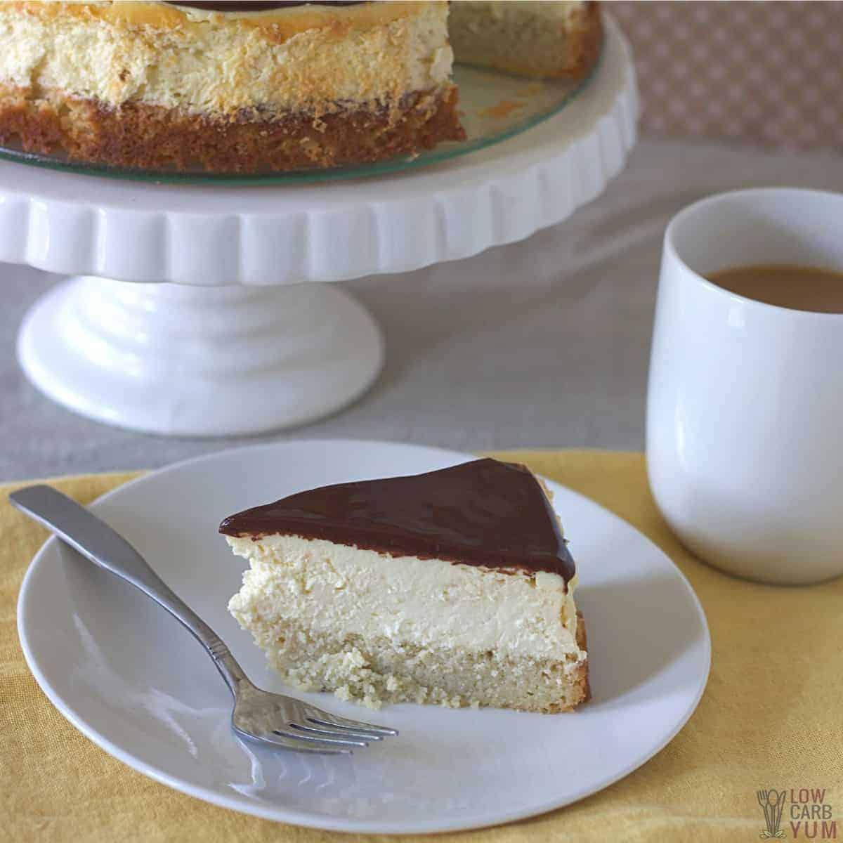 slice of boston cream pie cheesecake on plate