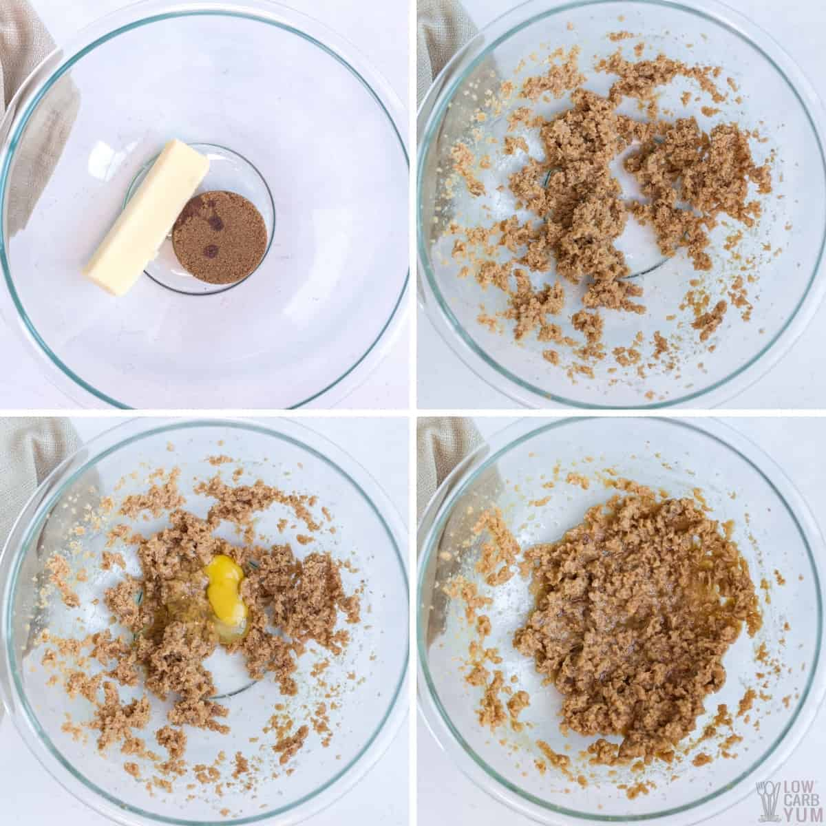 combining butter sweeteners and egg