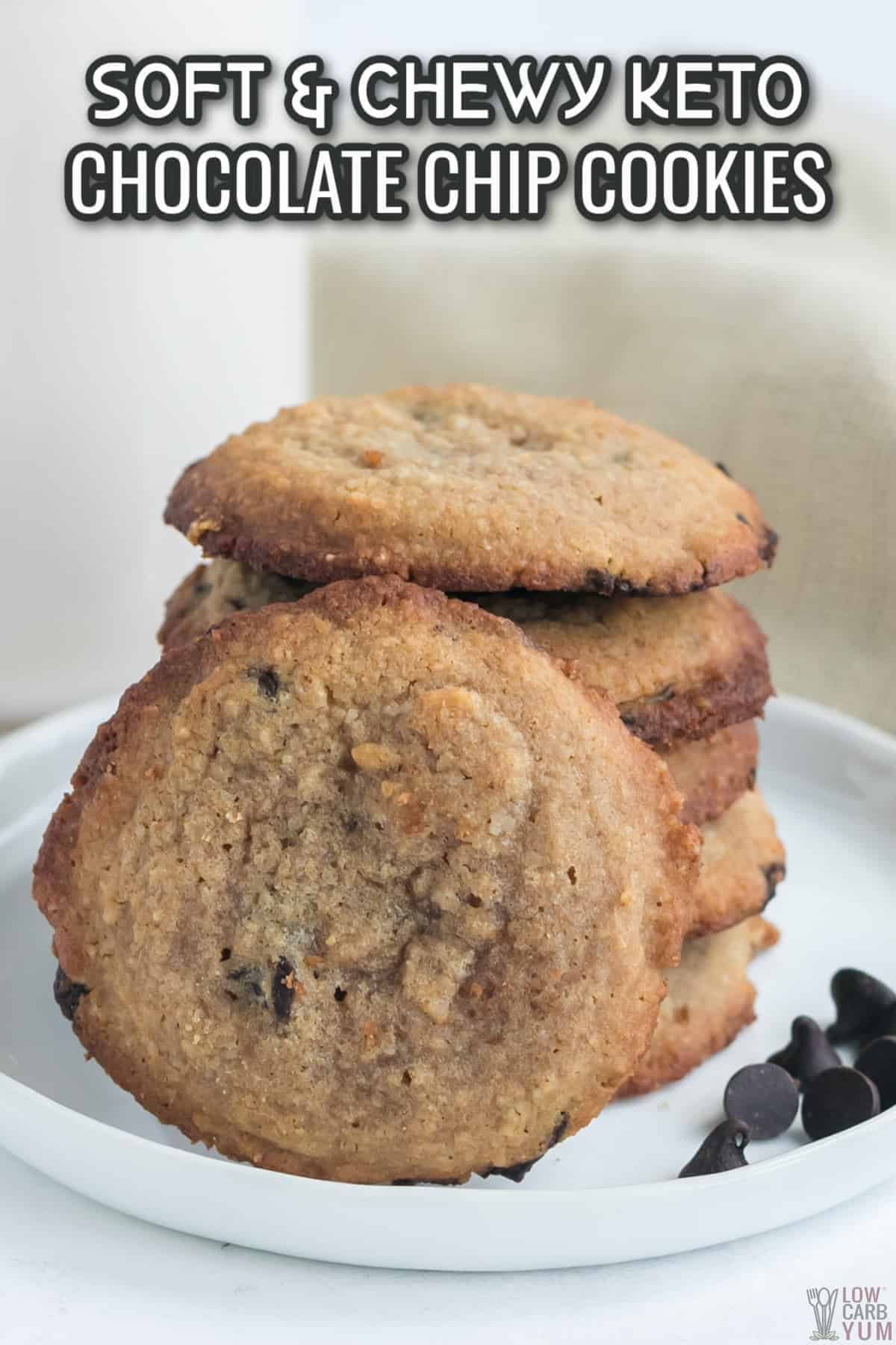 chewy keto chocolate chip cookies recipe cover image