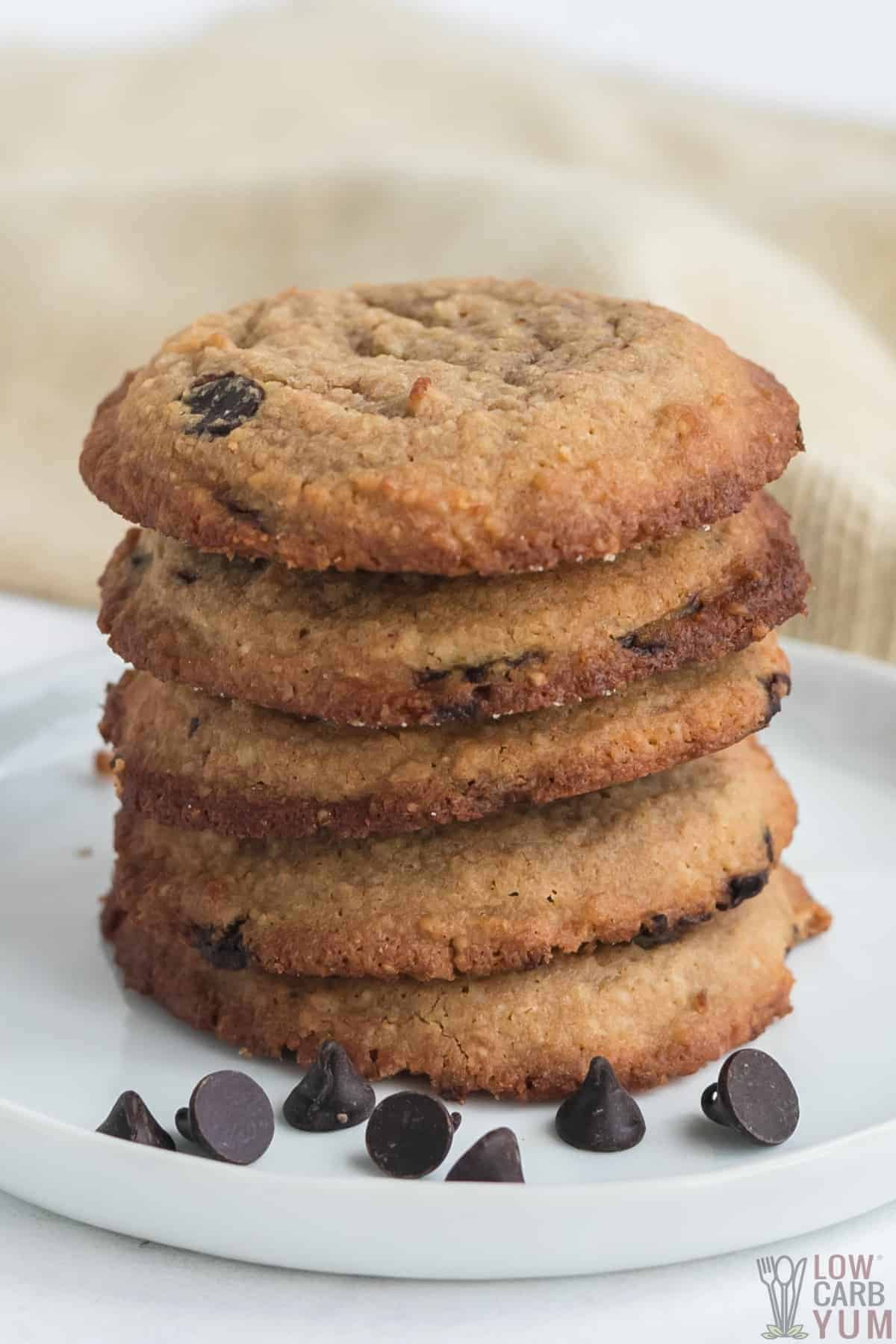 stack of chewy keto chocolate chip cookies on white plate