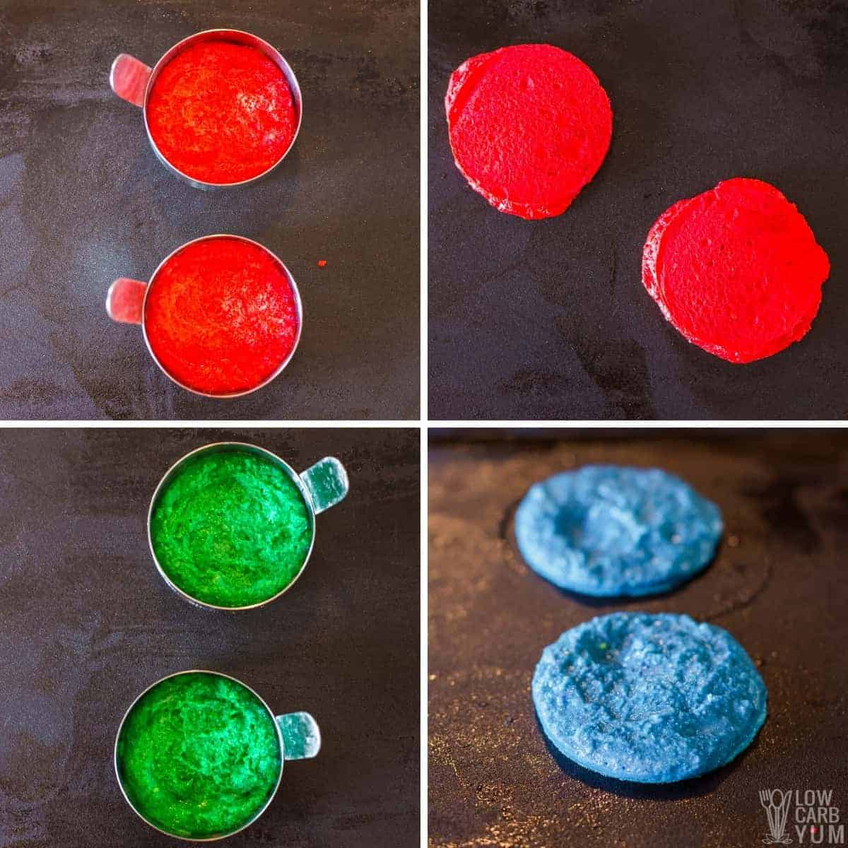 cooking the colored batter on griddle