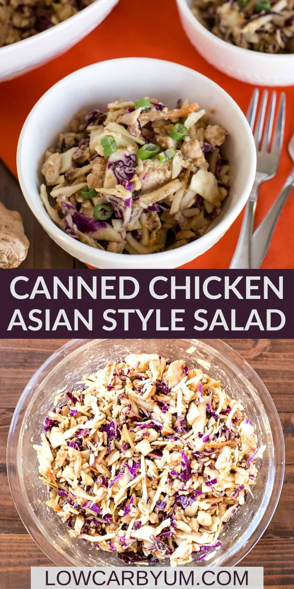 keto canned chicken asian style salad pinterest image