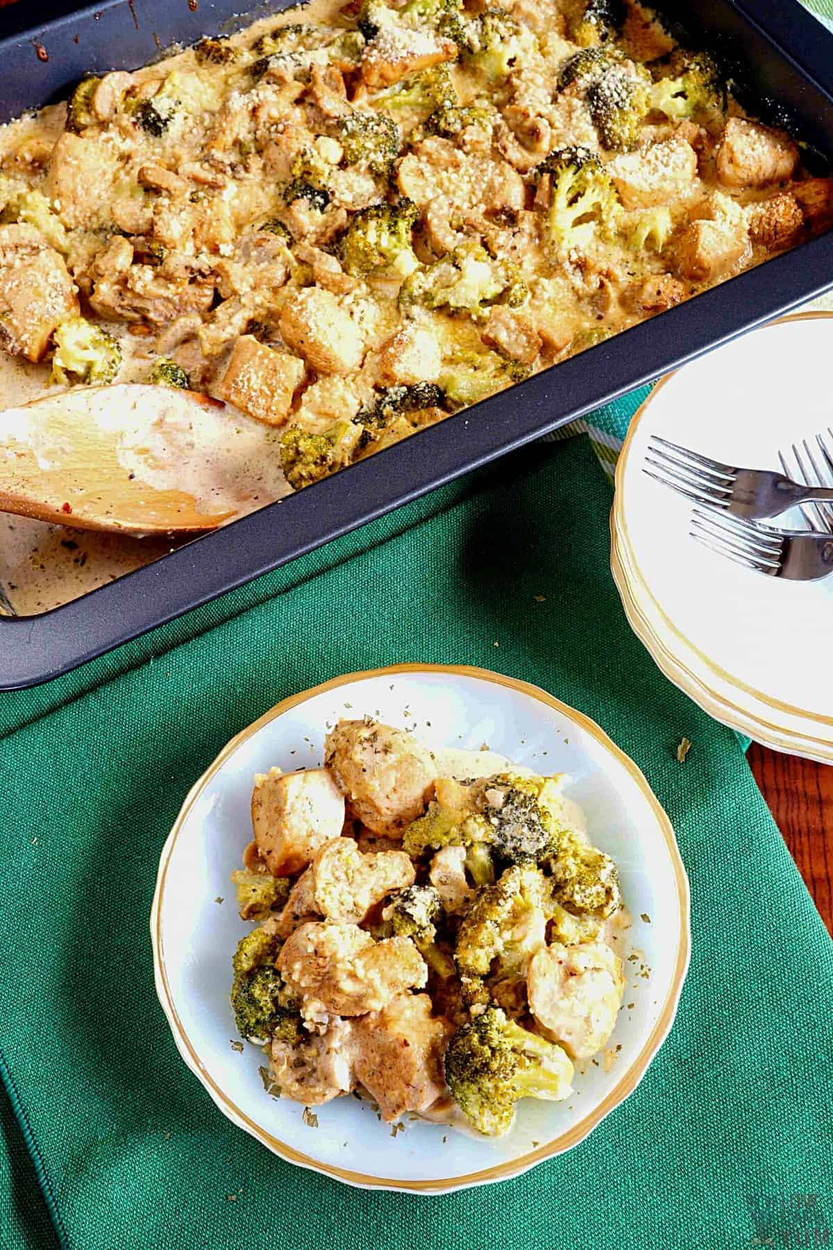 keto chicken broccoli casserole in baking pan and plate