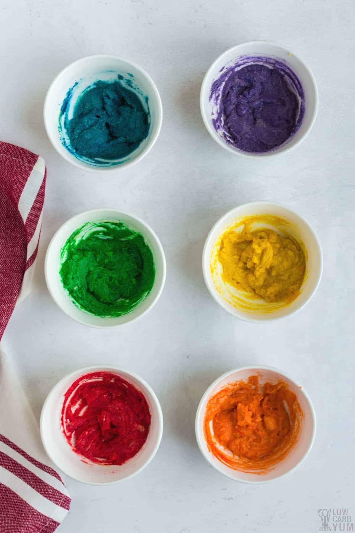 colored batter in bowls