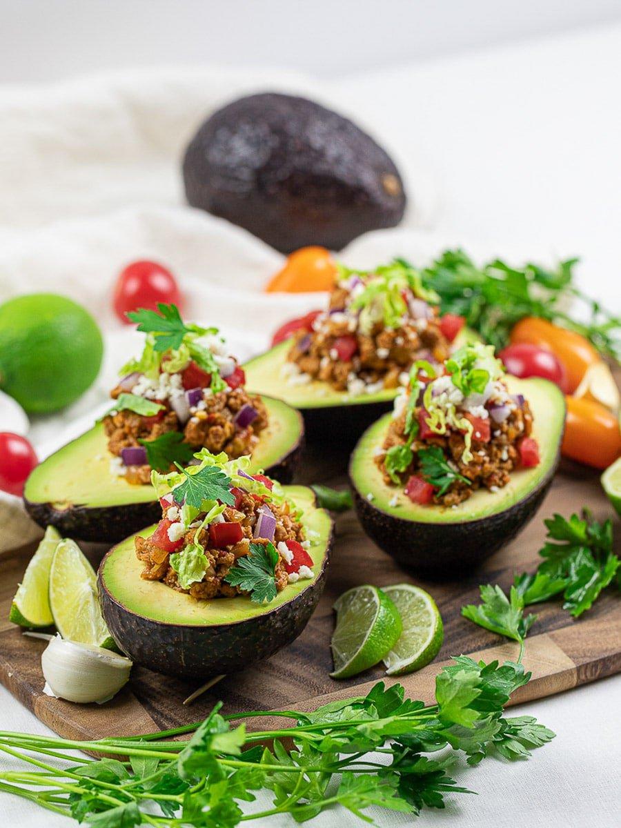 keto taco stuffed avocados