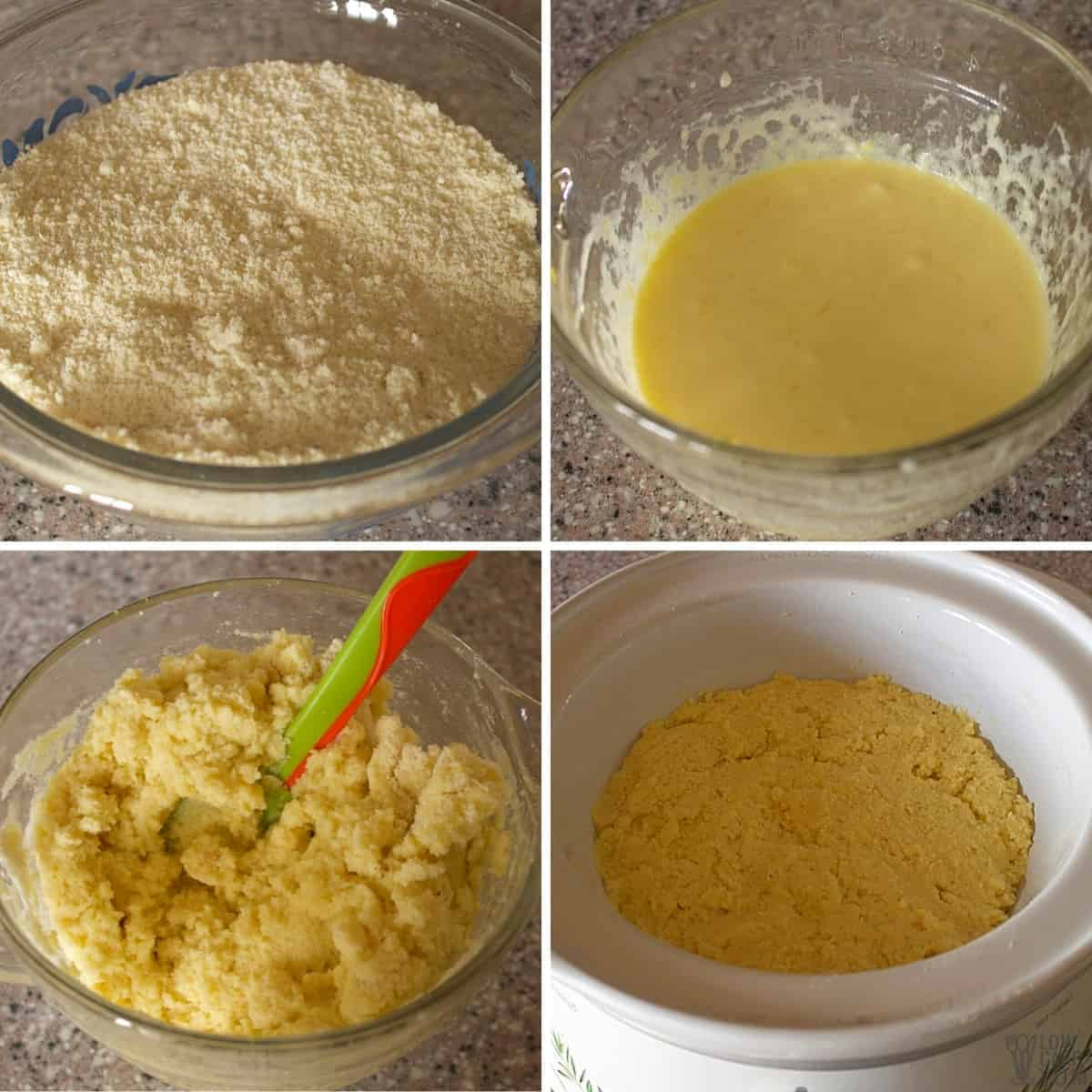 making the cake batter and pressing into crock pot