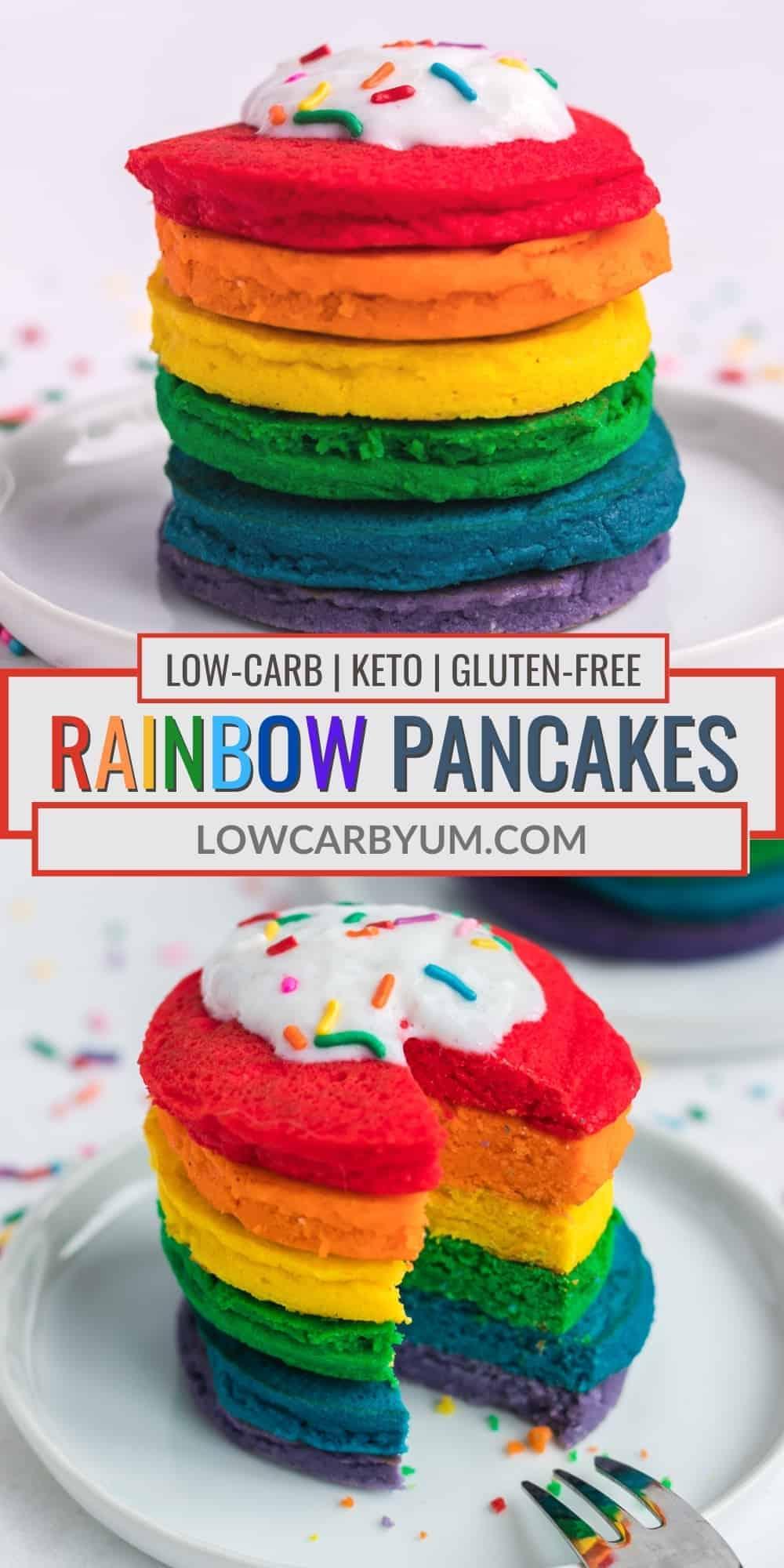 rainbow pancakes pinterest image