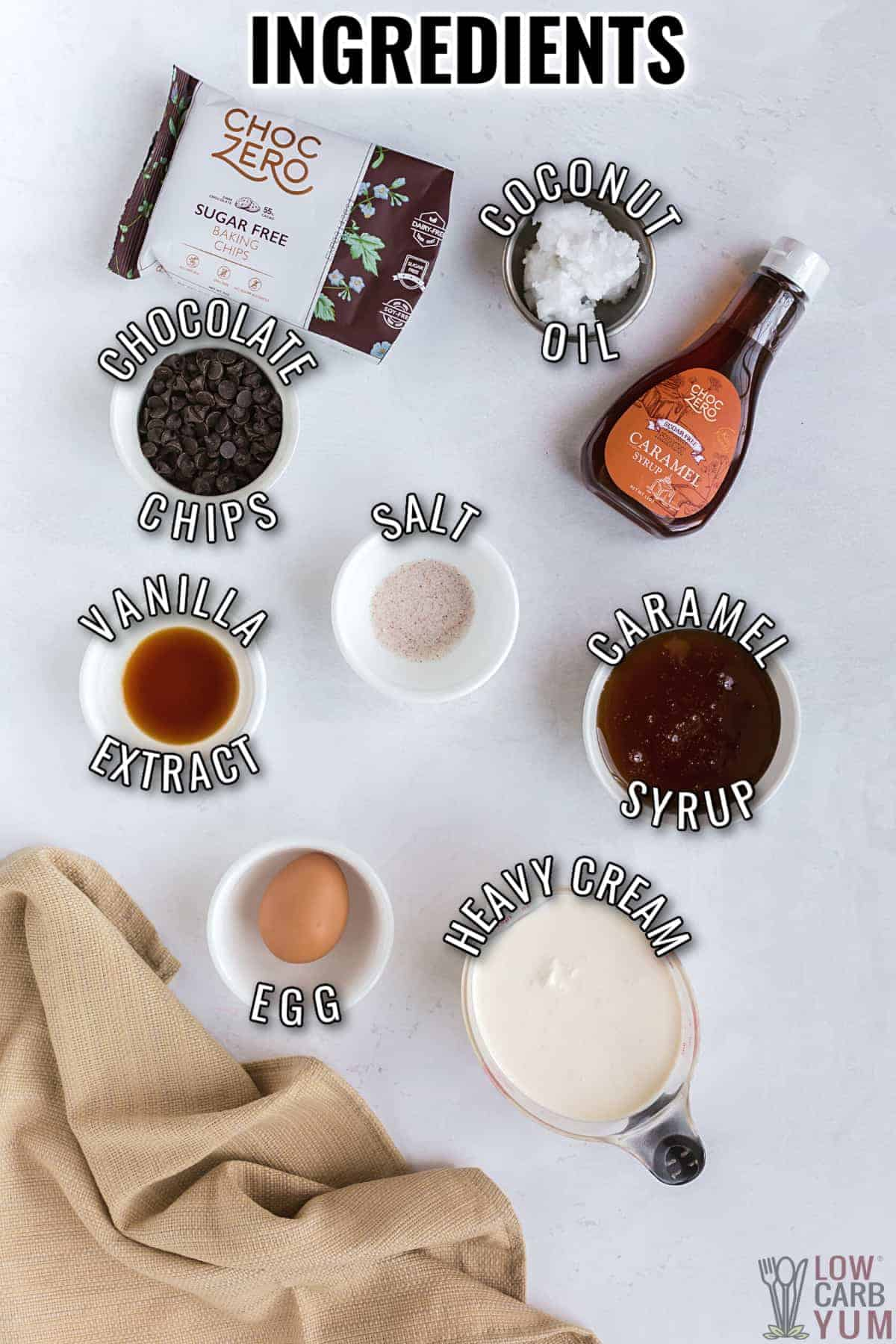 ingredients for keto salted caramel ice cream bars