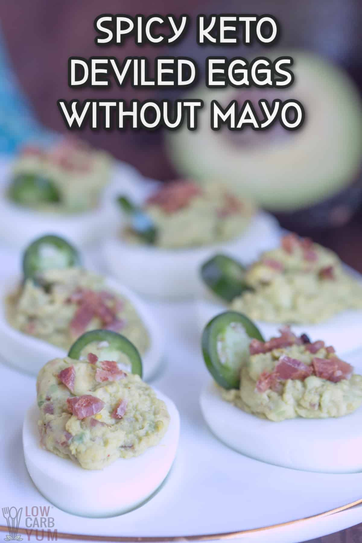 spicy keto deviled eggs without mayo recipe cover image