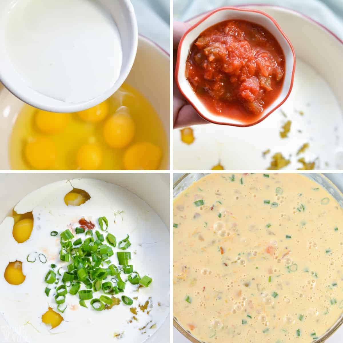 taco pie egg topping prep