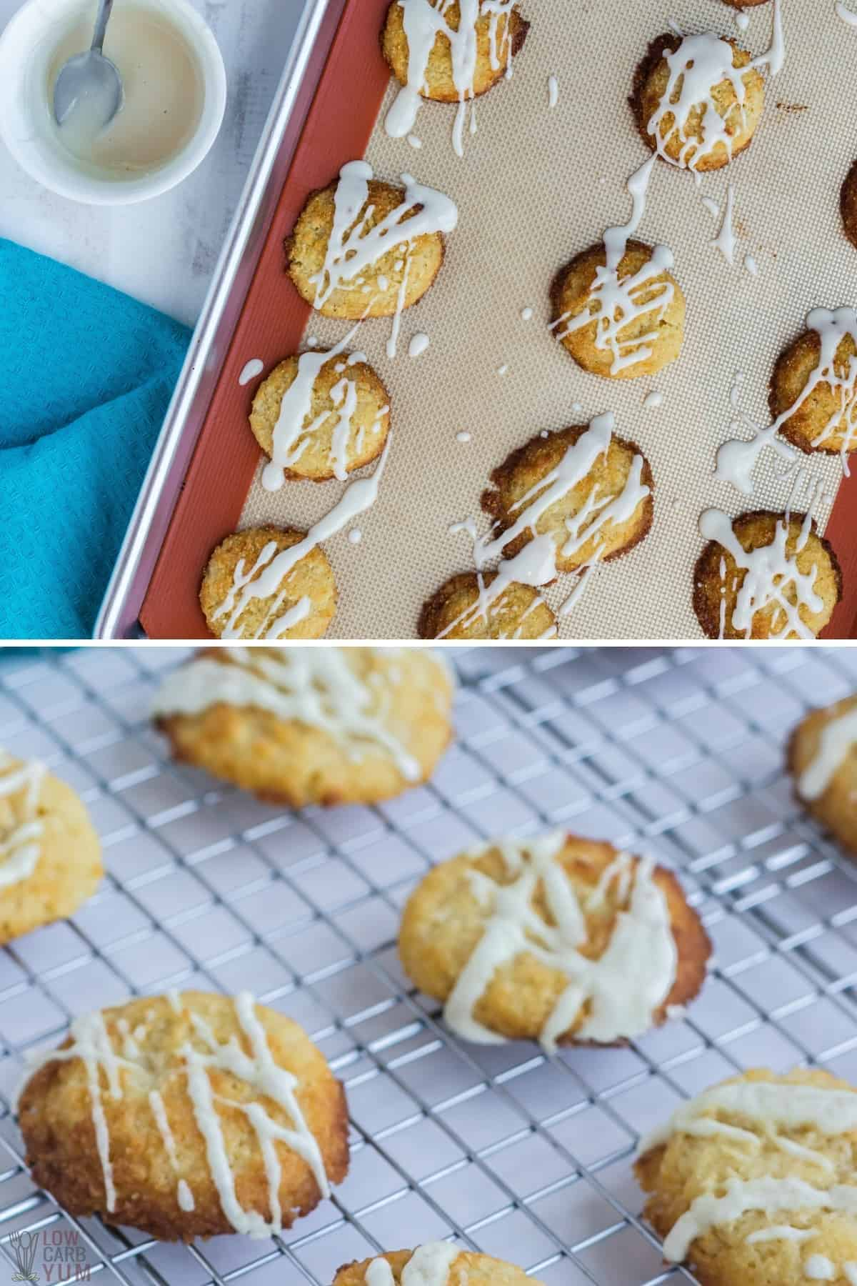 glazing the almond ricotta cheese cookies