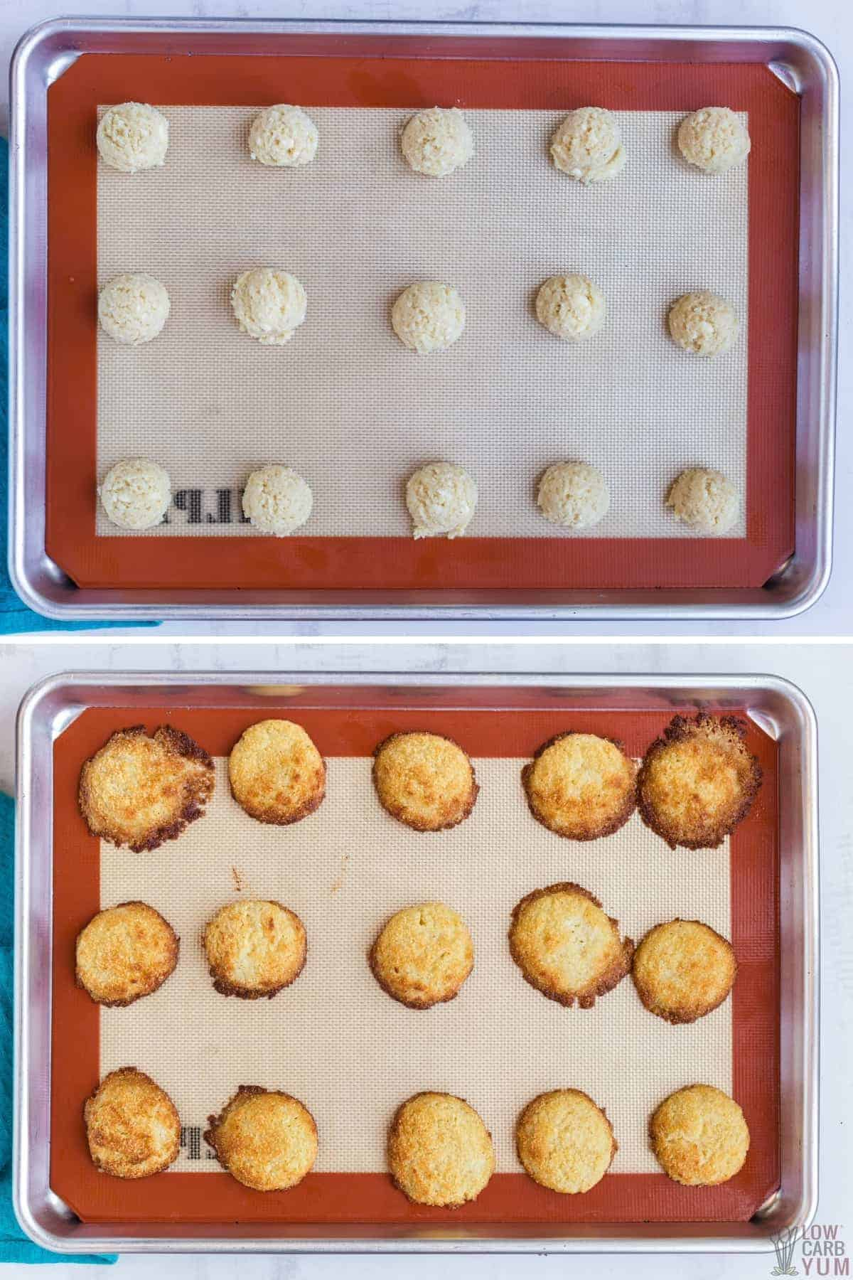 baking the cookie dough scoops on silicone lined baking sheet