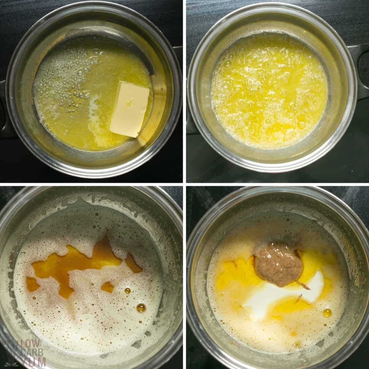 initial steps for making the caramel sauce