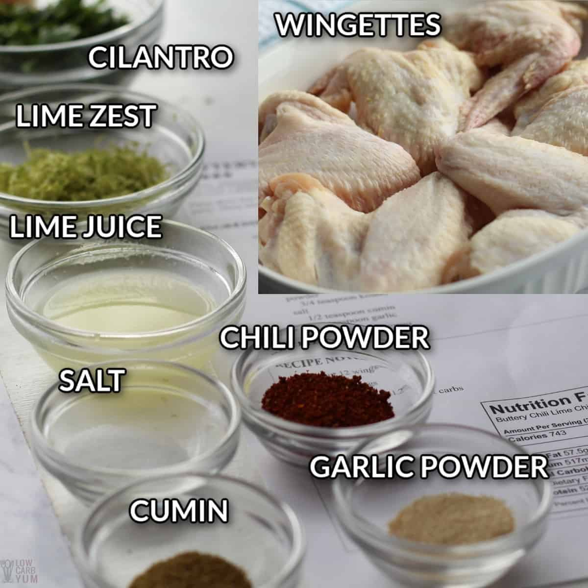 ingredients for chili lime wings