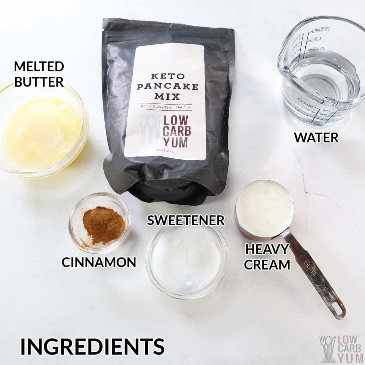 ingredients for cinnamon waffles with keto pancake mix