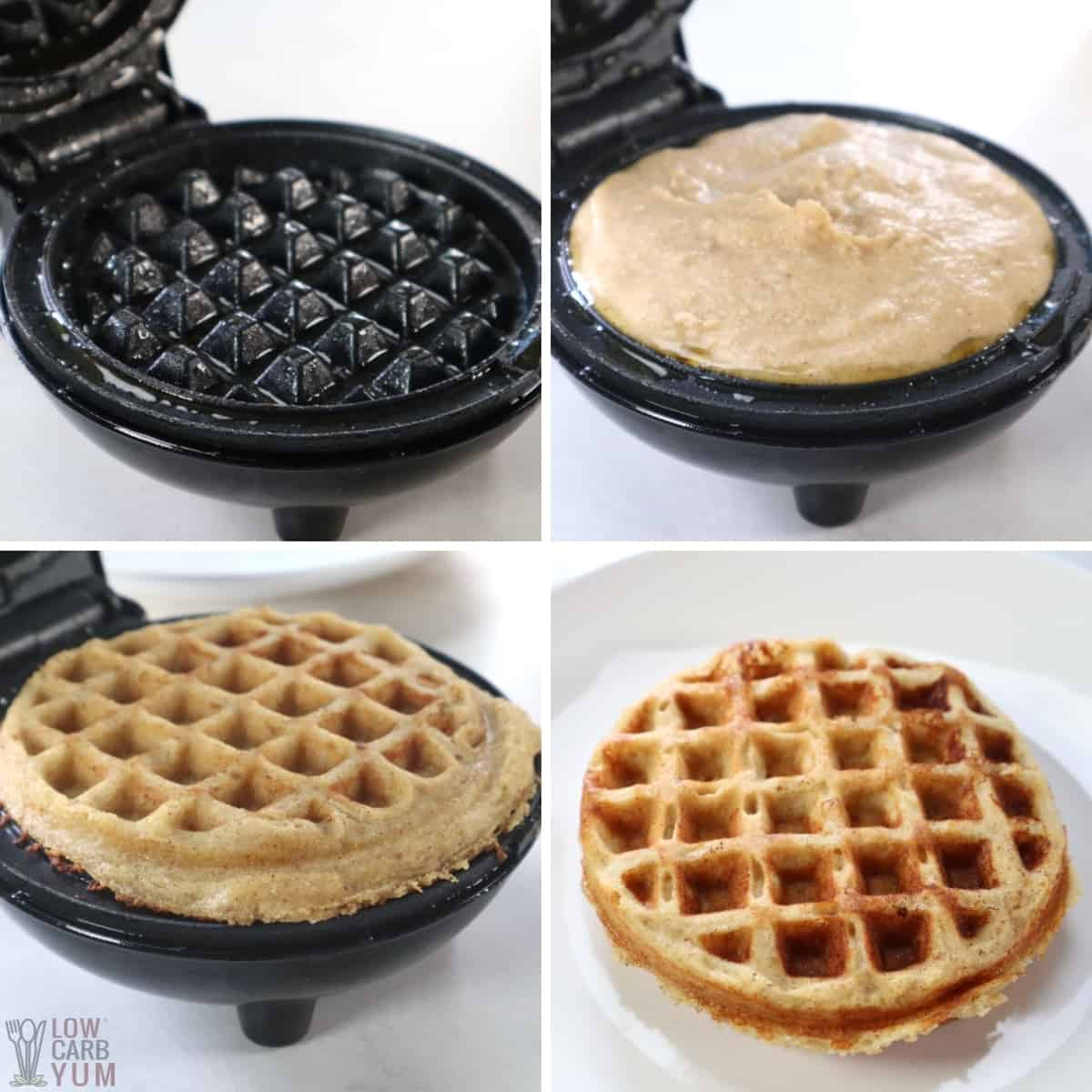 cooking the batter in a mini waffle maker